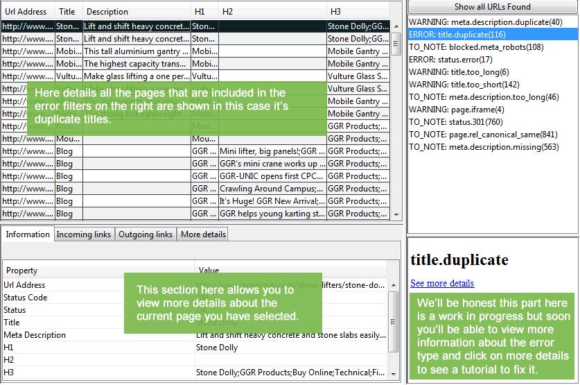 Filter details & page details